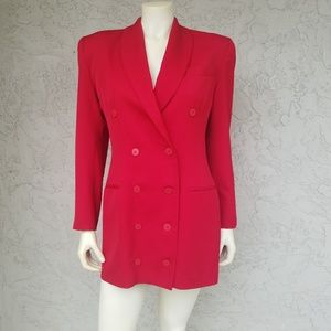 Andrea Behar Vintage Red Wool Mini Blazer Dress